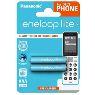 Panasonic Eneloop Lite R03/AAA 550mAh rechargeable  – 2 pcs blister (for DECT phone)