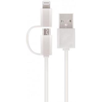 Setty 2in1 cable USB - Lightning + microUSB white nylon