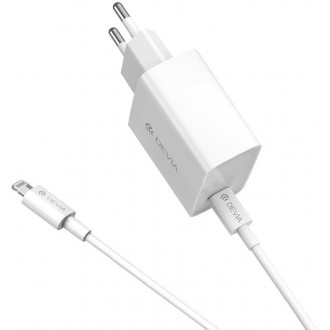 Devia wall charger Smart PD USB-C 1USB plus cable USB-C - 8-pin white 20W
