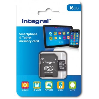Integral memory card 16GB MICRO SDHC CL10 UHS 1 90 MB/S + ADAPTER SMARTPHONE & TABLET